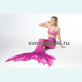 Хвост русалки фиолетовый с развевающимся плавником +топ