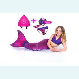 Хвост русалки малиново-фиолетовый с чешуей+купальник