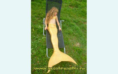 Купить хвост русалки для плавания+купальник золотой переливающийся модель экстра