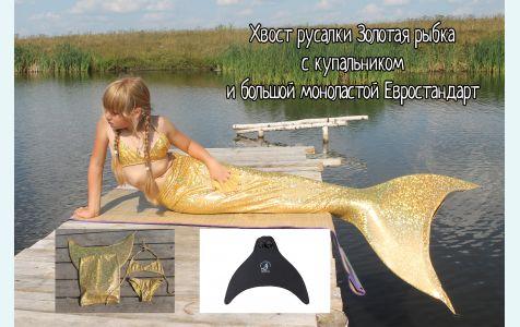 Хвост русалки с золотыми чешуйками