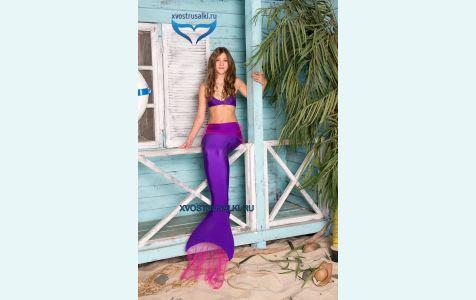Хвост русалки фиолетовый с воланом, хвост русалки для плавания, волан из прозрачной ткани красиво развивается при плавании
