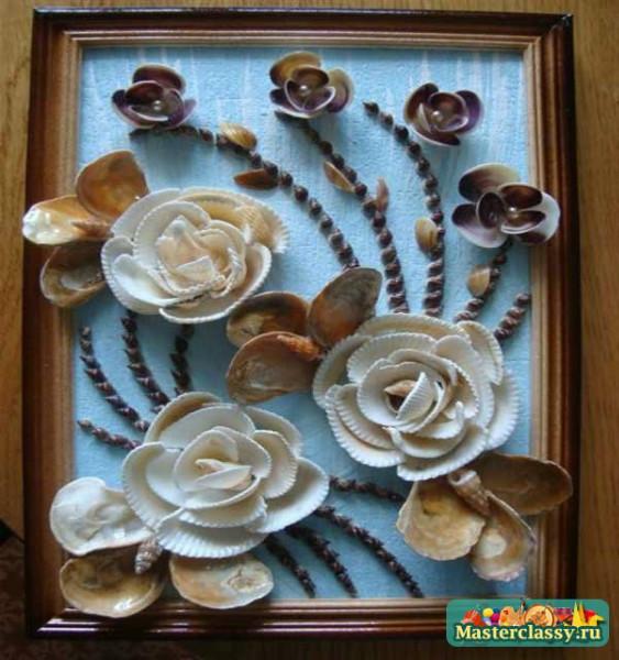 Цветы из ракушек для детей